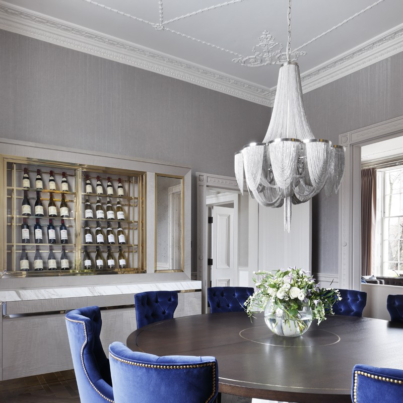Luxurious Lighting Inspiration from the Regent's Park Townhouse Project statement chandelier