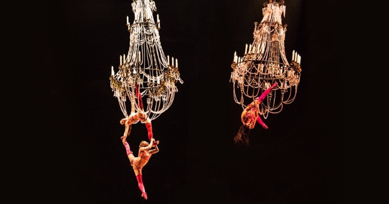 A Cirque du Soleil's Corteo_ A Spectacle Featuring Chandeliers lighting piece