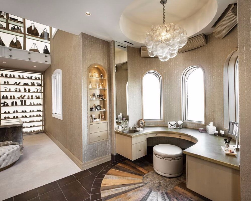 Closet Lighting Ideas For a Luxurious Space brass and gold plated finishes