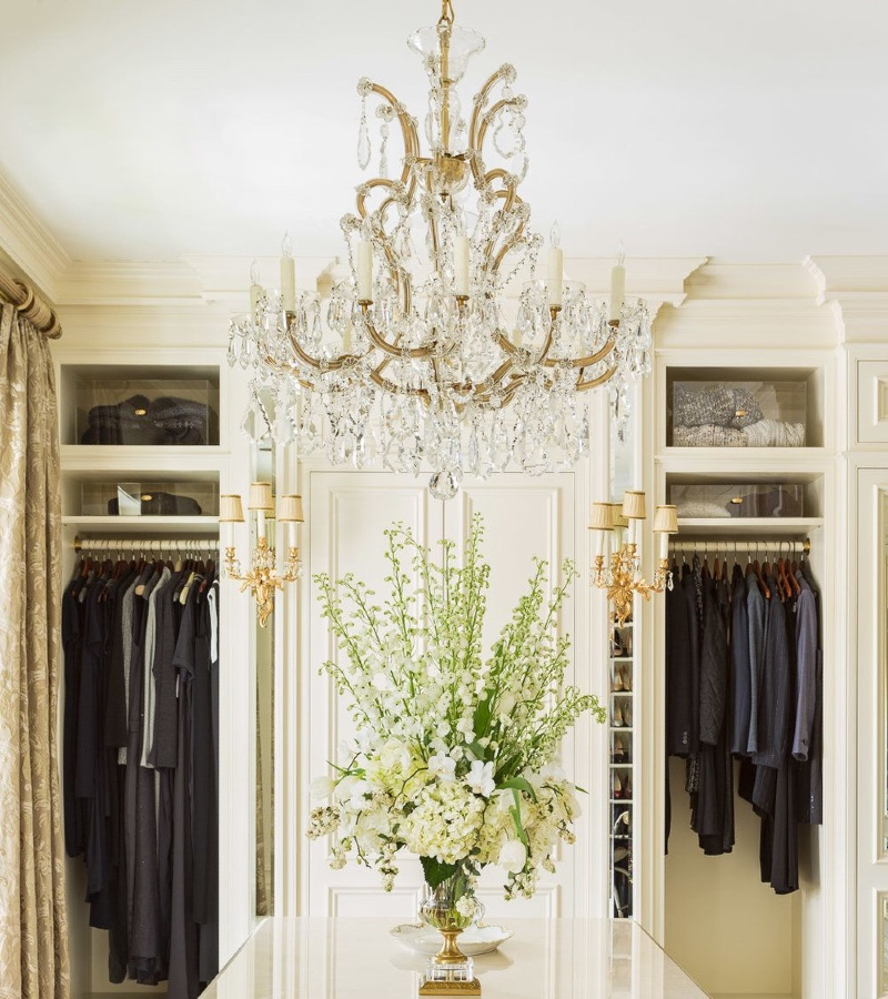 Closet Lighting Ideas For a Luxurious Space gold lighting fixture